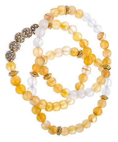 Set of Three Gold Crystal and Yellow Beaded Bracelets