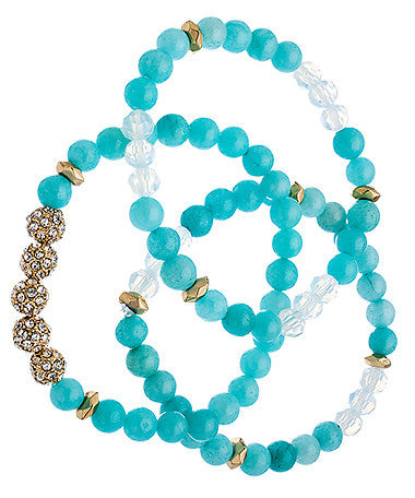 Set of Three Gold Crystal and Mint Beaded Bracelets