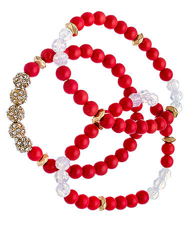 Set of Three Gold Crystal and Coral Beaded Bracelets