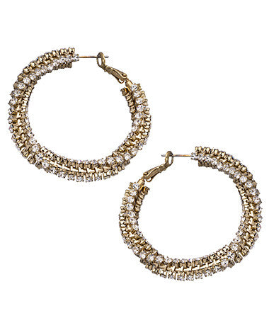 Gold Twisted Crystal Hoop Earrings