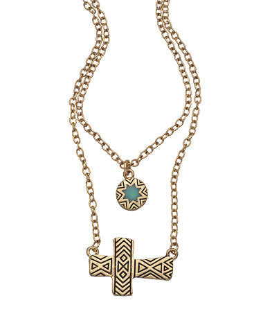 Double Link Cross Necklace
