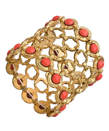 Gold Circle and Coral Stretch Link Bracelet