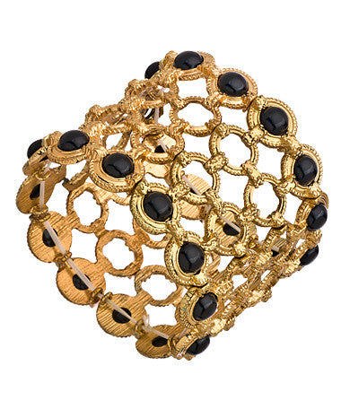 Gold Circle and Black Stretch Link Bracelet