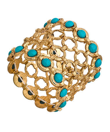Gold Circle and Turquoise Stretch Link Bracelet
