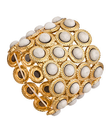 Alternating Gold Circle Link and White Stretch Link Bracelet