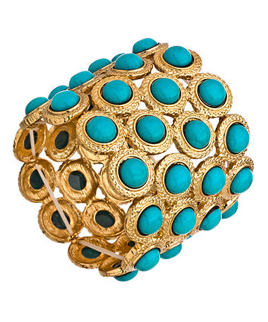 Alternating Gold Circle Link and Turquoise Stretch Link Bracelet