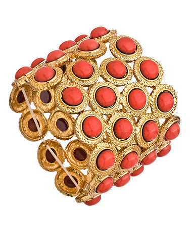 Alternating Gold Circle Link and Coral Stretch Link Bracelet