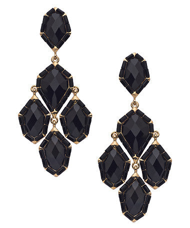 Gold and Onyx Chandelier Earrings
