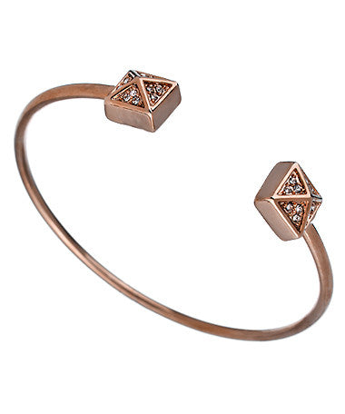 Rose Gold Crystal Double Pyramid Bangle