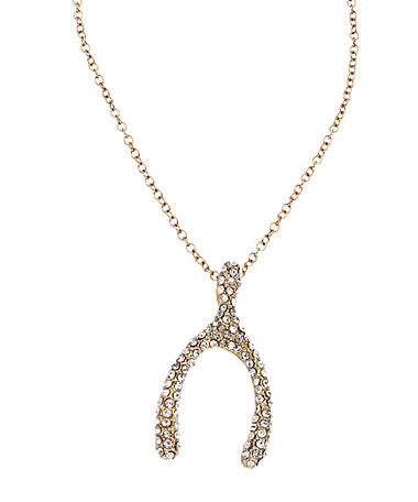 Gold Crystal Wishbone Necklace