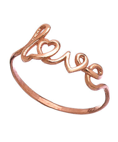 Rose Gold Scripted 'Love' Ring