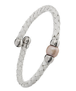 White Woven Leather Bracelet With A Freshwater Pearl