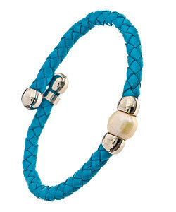 Turquoise Woven Leather Bracelet With A Freshwater Pearl