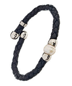 Black Woven Leather Bracelet With A Freshwater Pearl