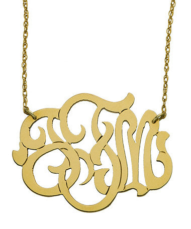 Oval Lace Monogram Necklace