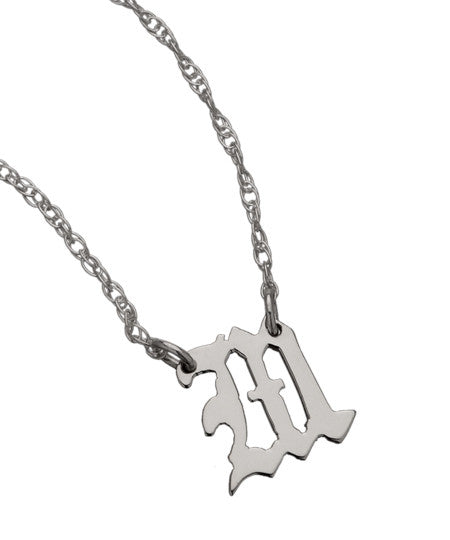 Tiny Gothic Initial Necklace