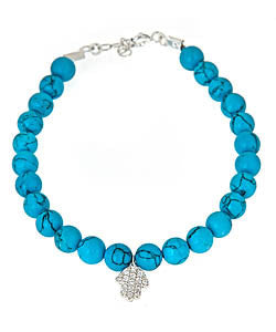 Hamsa-Detailed Turquoise Blue Beaded Bracelet