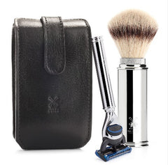Travel Shaving Set - Black, Florentine leatherwork, (31M20) Shaving Brush with Silvertip Fibre®, 5- Blades Razor, Metal, Chrome