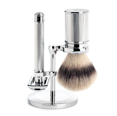 Traditional, Shaving Set, 3-piece, Shaving Brush with Silvertip Fibre®, HANDMADE, Razor (Open Comb), Metal, Chrome, with sample Blade
