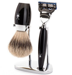 KOSMO Shaving set of MÜHLE, silvertip badger, with Gillette® Fusion™, handle material high-grade resin black