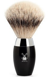 KOSMO Shaving brush from MÜHLE, silvertip badger, handle material high-grade resin black