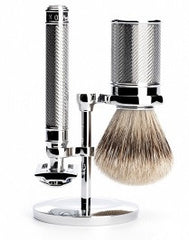 Stand for classic safety razors and shaving brushes from MÜHLE, chrome-plated