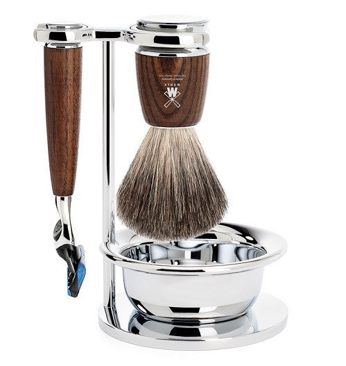 RYTMO - Shaving set of MÜHLE, pure badger, with Gillette® Fusion™, handle material made of steamed ash