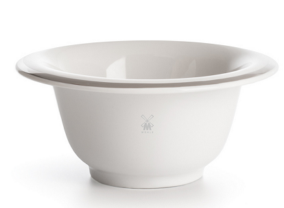 Shaving bowl from MÜHLE, porcelain white, with platinum rim
