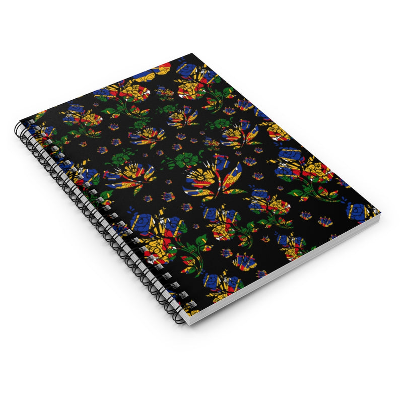 TMMG Haitian Flag Choublack Flower Spiral Notebook - Ruled Line