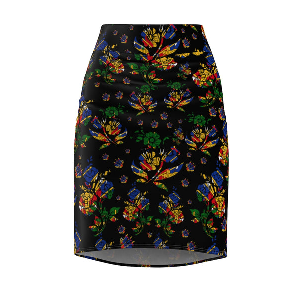 TMMG Haitian Flag Choublak Flower Women's Pencil Skirt