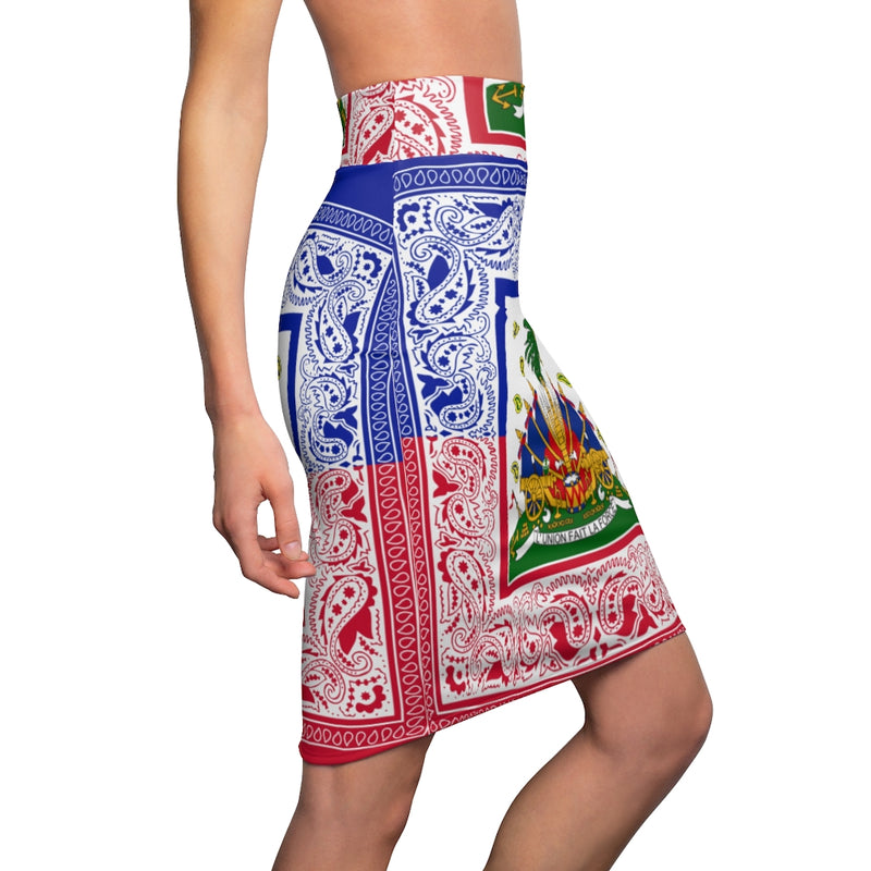 TMMG Haitian Flag Bandana Women's Pencil Skirt