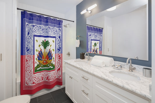 TMMG Haitian Flag Bandana Shower Curtains