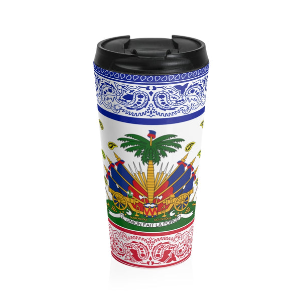 TMMG Haitian Flag Bandana Stainless Steel Travel Mug