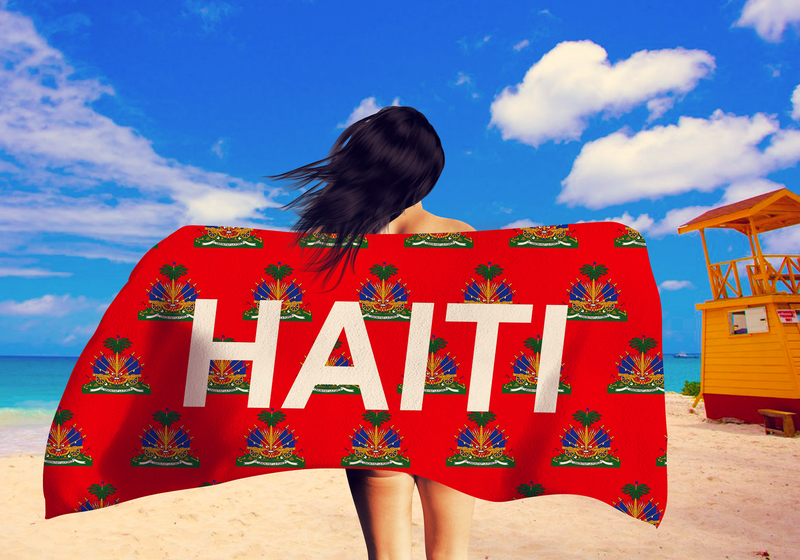 TMMG RED HAITIAN FLAG BEACH TOWEL
