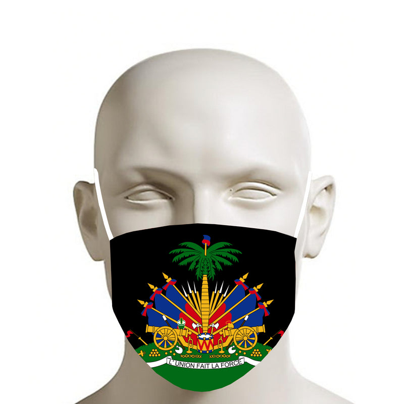 BLACK TMMG HAITIAN FLAG FACE MASK