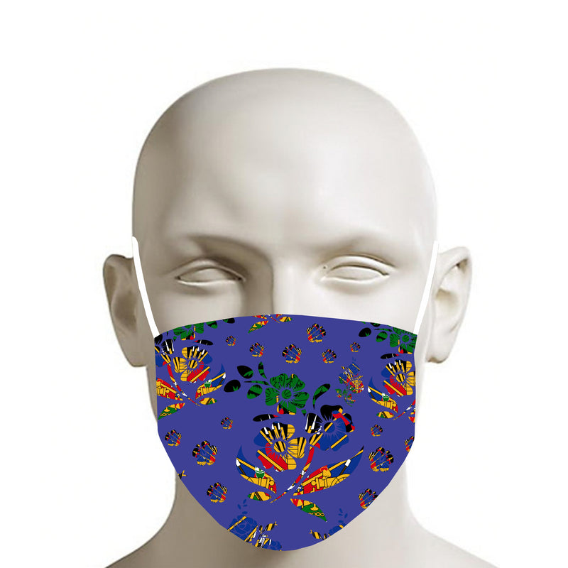 BLUE TMMG HAITIAN FLAG CHOUBLAK FLOWERS FACE MASK