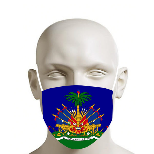 BLUE TMMG HAITIAN FLAG FACE MASK