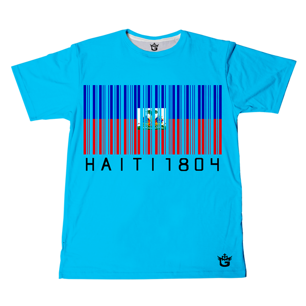 TMMG CYAN BLUE HAITI 1804  BAR CODE T-SHIRT