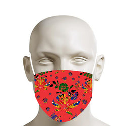 RED TMMG HAITIAN FLAG CHOUBLAK FLOWERS FACE MASK