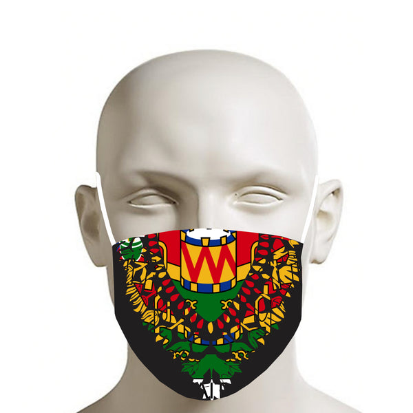 TMMG BLACK HAITIAN FLAG DASHIKI FACE MASK