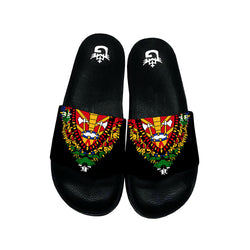 BLACK TMMG HAITIAN FLAG DASHIKI SANDALS