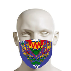 TMMG BLUE HAITIAN FLAG DASHIKI FACE MASK