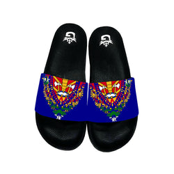 BLUE TMMG HAITIAN FLAG DASHIKI SANDALS