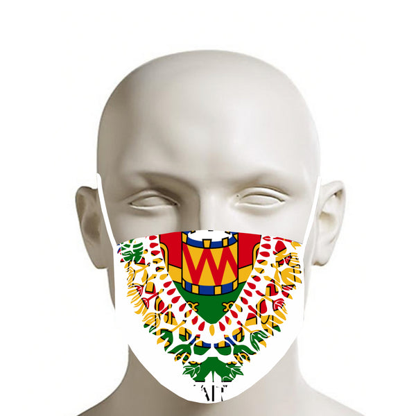 TMMG WHITE HAITIAN FLAG DASHIKI FACE MASK