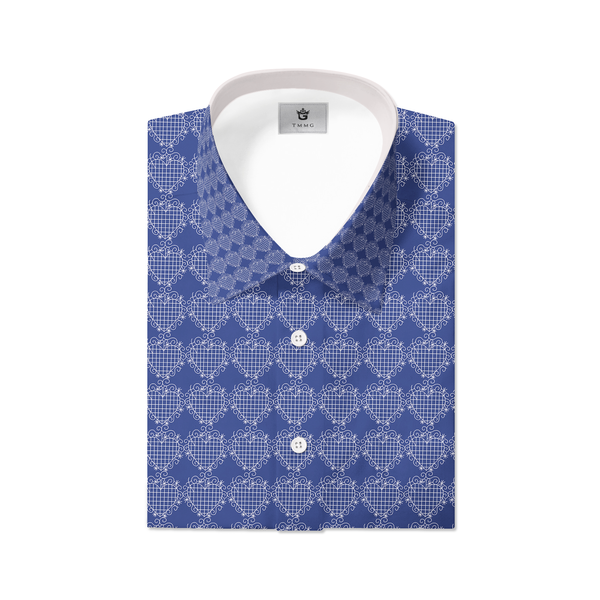 BLUE TMMG LUXURY PLAID DRESS SHIRT INSPIRED BY EZILI DANTO
