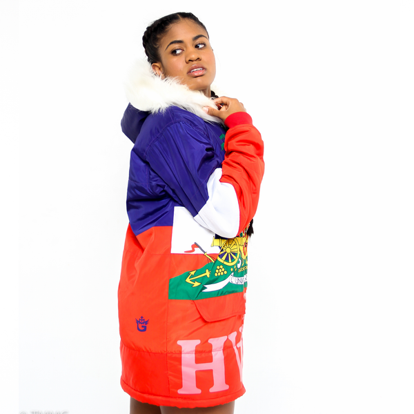TMMG HAITIAN FLAG DETACHABLE FUR HOODIE JACKET