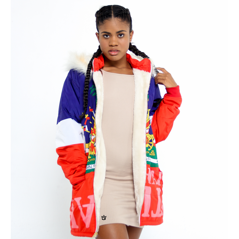 WINTER COAT TMMG HAITIAN FLAG DETACHABLE FUR HOODIE JACKET