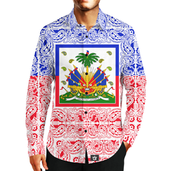 MEN'S FASHION TMMG HAITIAN FLAG BANDANA DRESS SHIRT