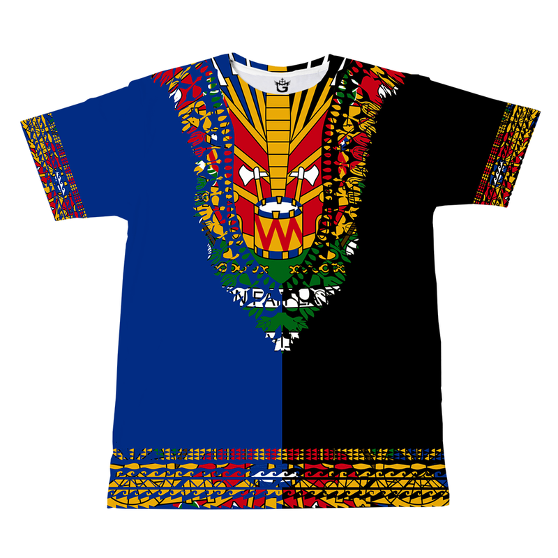 BLUE YELLOW TMMG HAITIAN FLAG DASHIKI DUAL COLORS