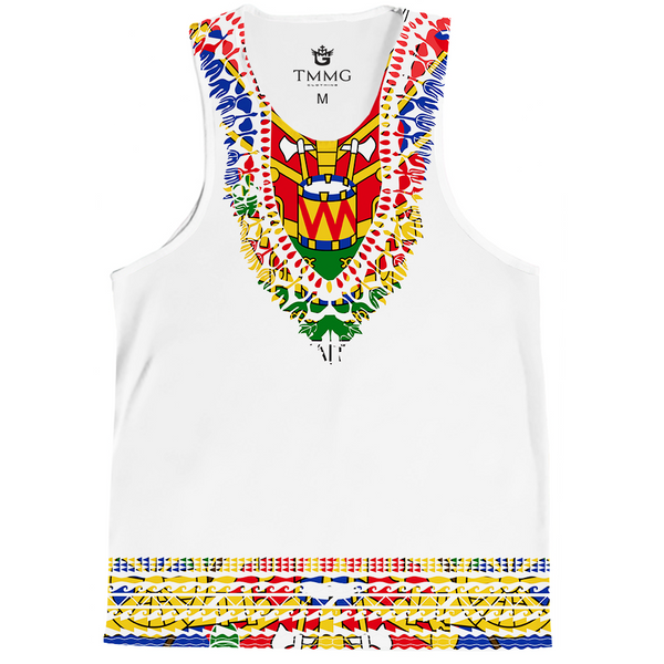 TMMG WHITE HAITIAN FLAG DASHIKI TANK TOP